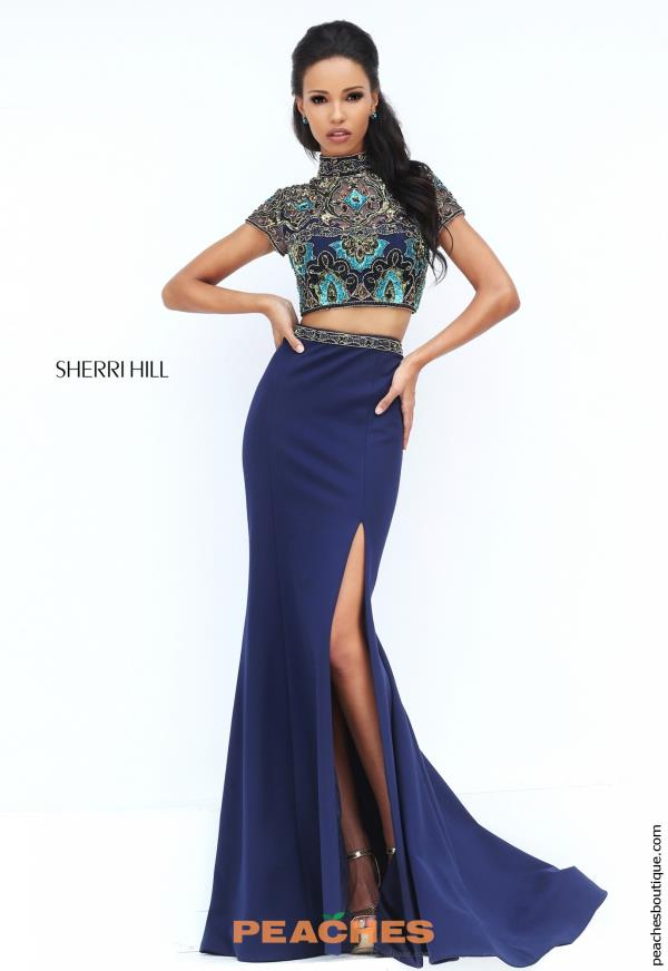 Sleeved Fitted Sherri Hill Dress 50540