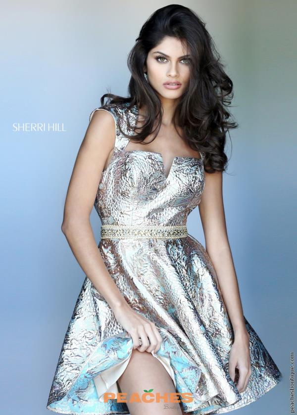 Sherri Hill Short Gold Fitted Dress 50512