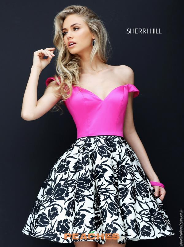Sherri Hill Short Print A Line Dress 50545