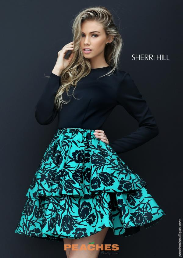 Sherri Hill Short Print A Line Dress 50559