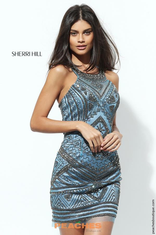 High Neckline Beaded Sherri Hill Short Dress 50630