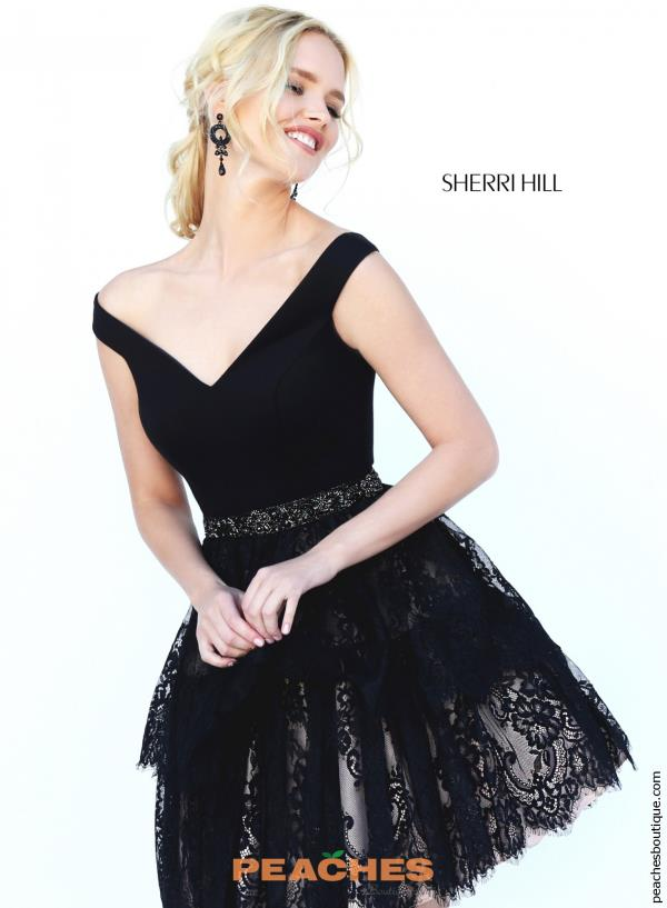 Sherri Hill Short Lace A Line Dress 50635