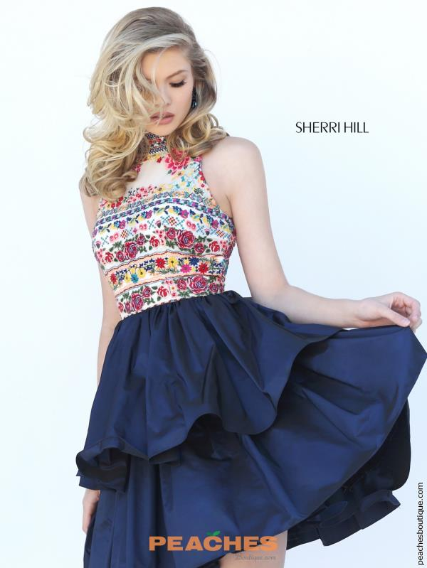 Sherri Hill Short Navy A Line Dress 50638