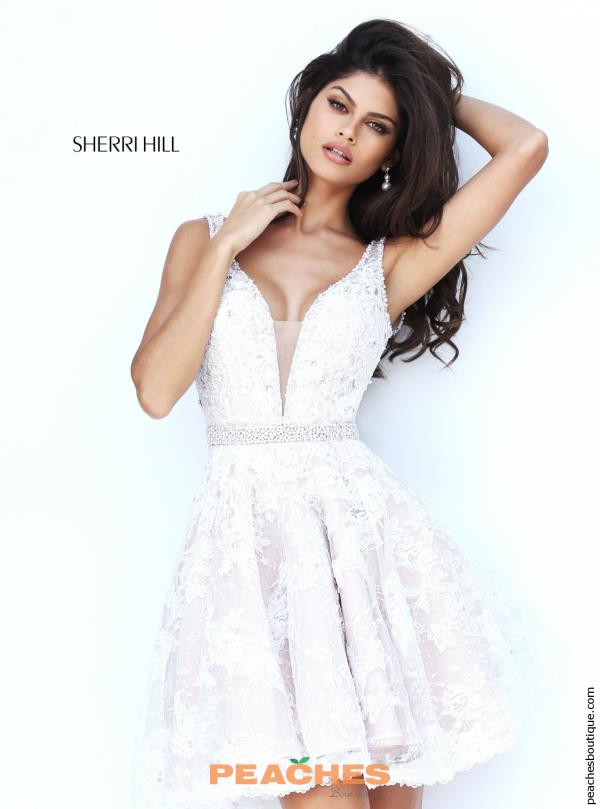 Sherri Hill Short V- Neckline Lace Dress 50656