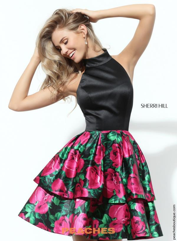 Sherri Hill Short Floral A Line Dress 50721
