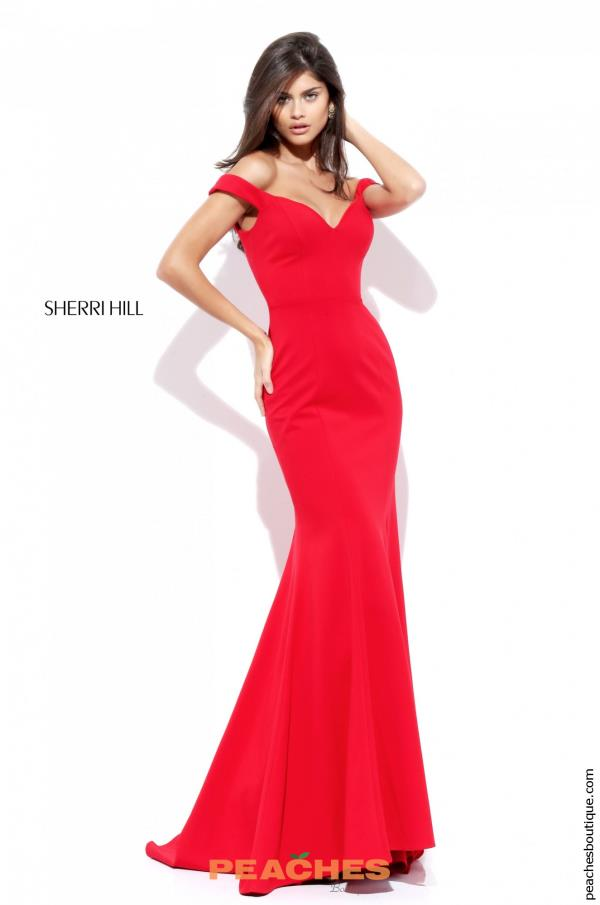 Sherri Hill Long Red Fitted Dress 50730