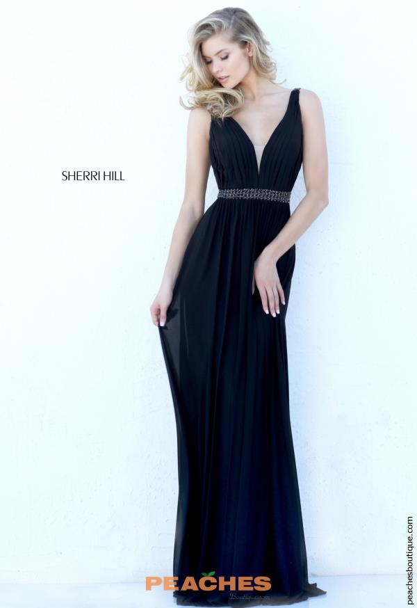 Sherri Hill Long V- Neckline Dress 50760