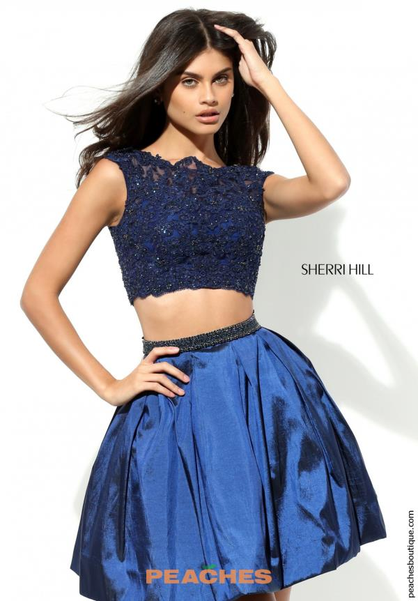 Sherri Hill Short Two Piece Lace Dress 50555