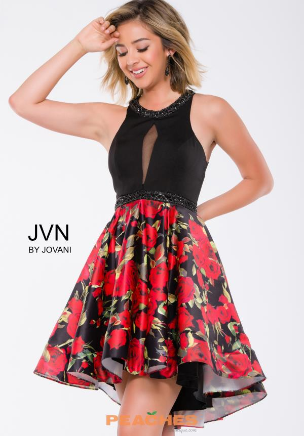 JVN by Jovani Black A Line Dress JVN41523