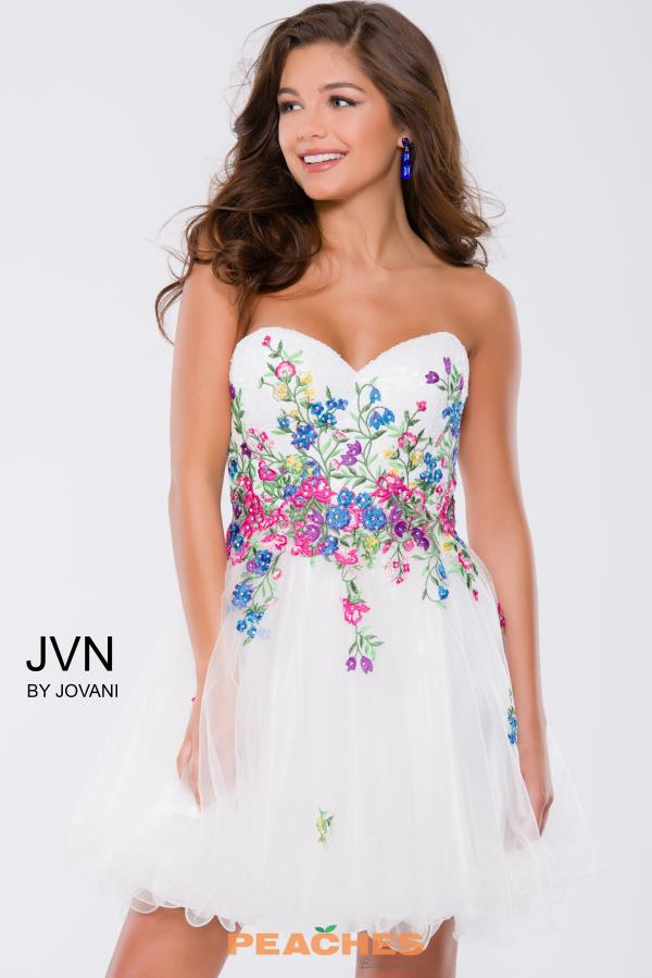 Strapless White JVN by Jovani Dress JVN42612