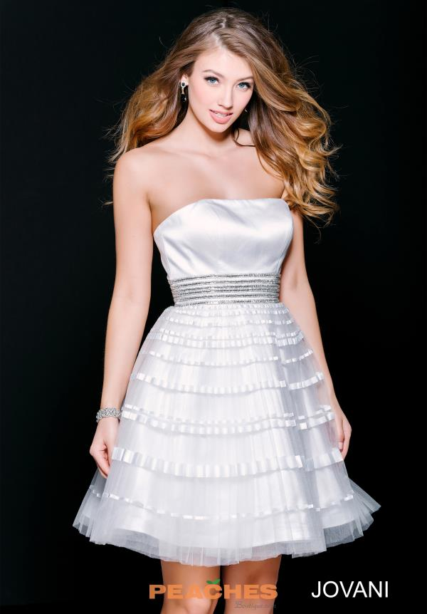 Strapless A Line Jovani Cocktail Dress 33668