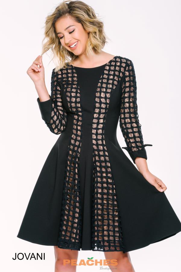 Long Sleeved A Line Jovani Cocktail Dress 39367