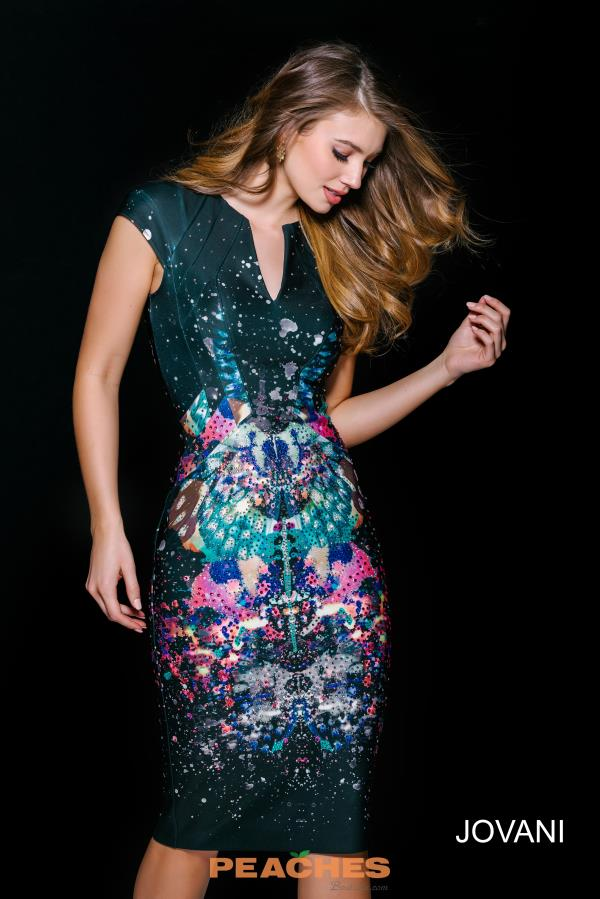 Fitted Print Jovani Cocktail Dress 41247