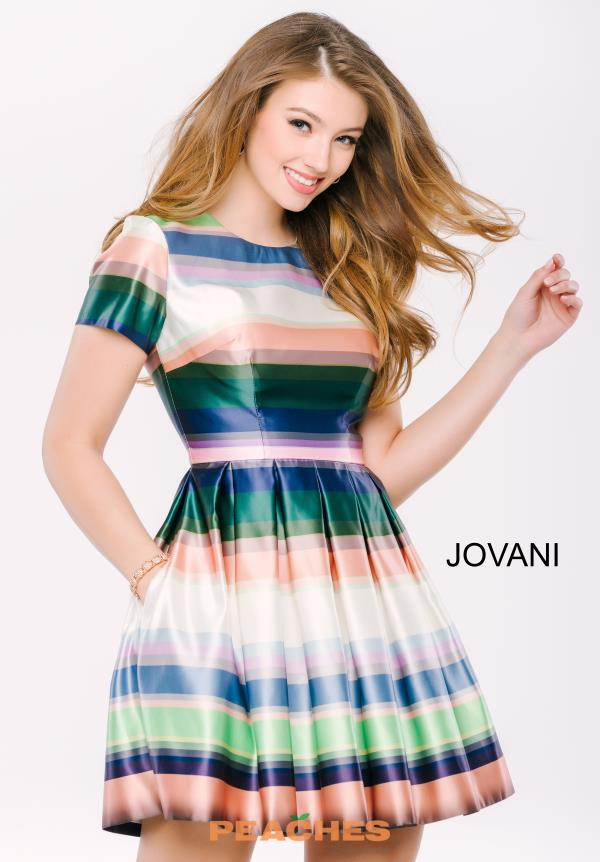 Jovani Cocktail Print A Line Dress 41250