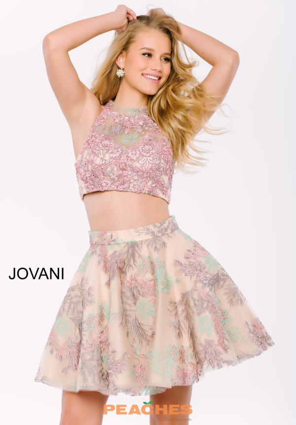Jovani Cocktail Print Two Piece Dress 47058