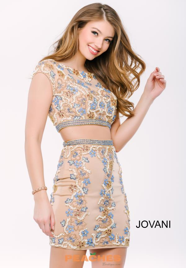 Jovani Cocktail Sleeved Beaded Dress 46284