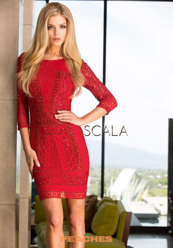 Scala Long Sleeved Cocktail Short Dress 48377