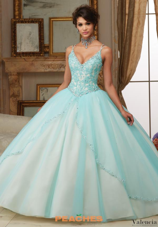 Valencia Quinceanera V- Neckline Beaded Dress 60002