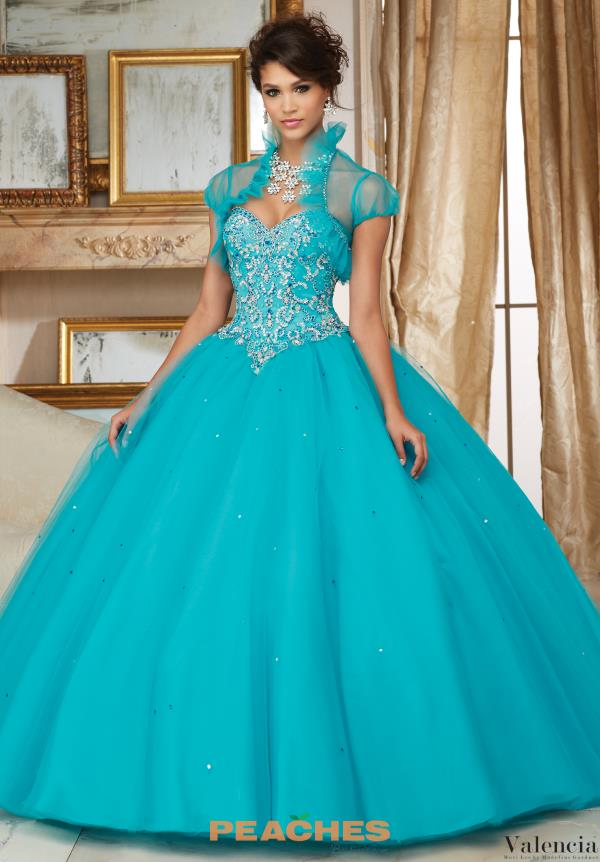 Valencia Quinceanera Tulle Skirt Beaded Gown 60007