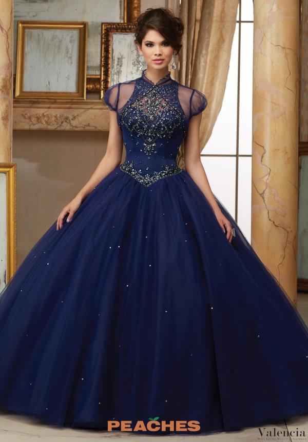 Vizcaya Quinceanera High Neckline Beaded Dress 60008
