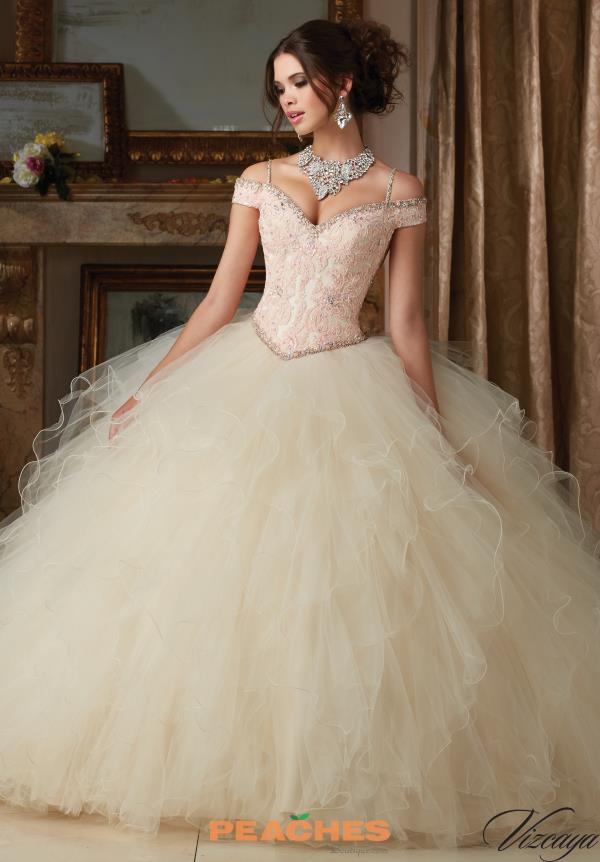 Vizcaya Quinceanera Tulle Layered Skirt Gown 89102