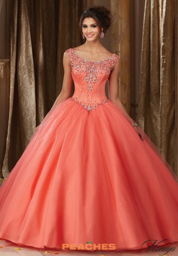Vizcaya Quinceanera Tulle Skirt Beaded Dress 89108