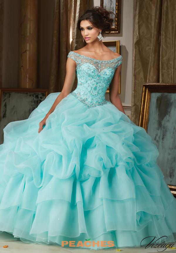 Vizcaya Quinceanera Cap Sleeved Beaded Gown 89110