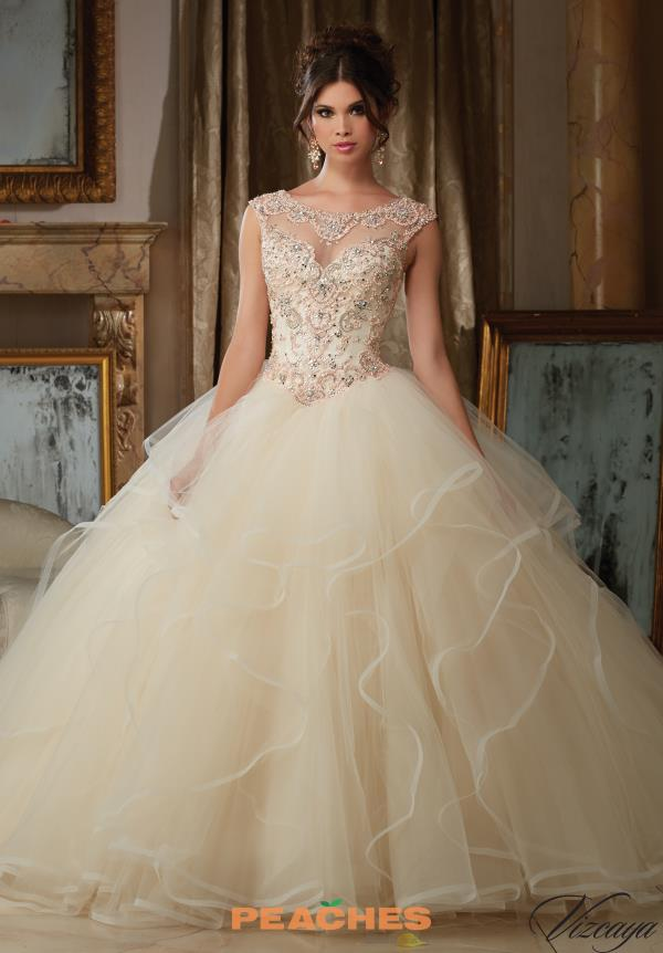 Vizcaya Quinceanera Cap Sleeved Beaded Gown 89116