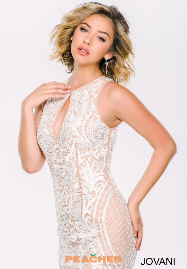 Jovani High Neckline Beaded Dress 37687