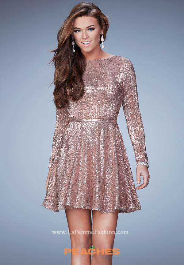 La Femme Short Sleeved Sequins Dress 23321