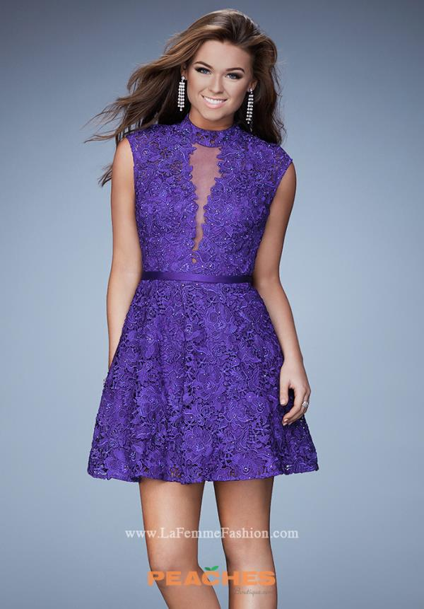 La Femme Short High Neckline Lace Dress 23409