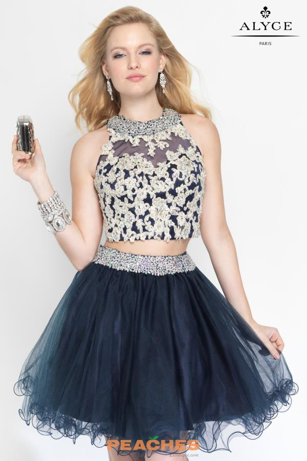 Two Piece Tulle Alyce Navy Short Dress 3647