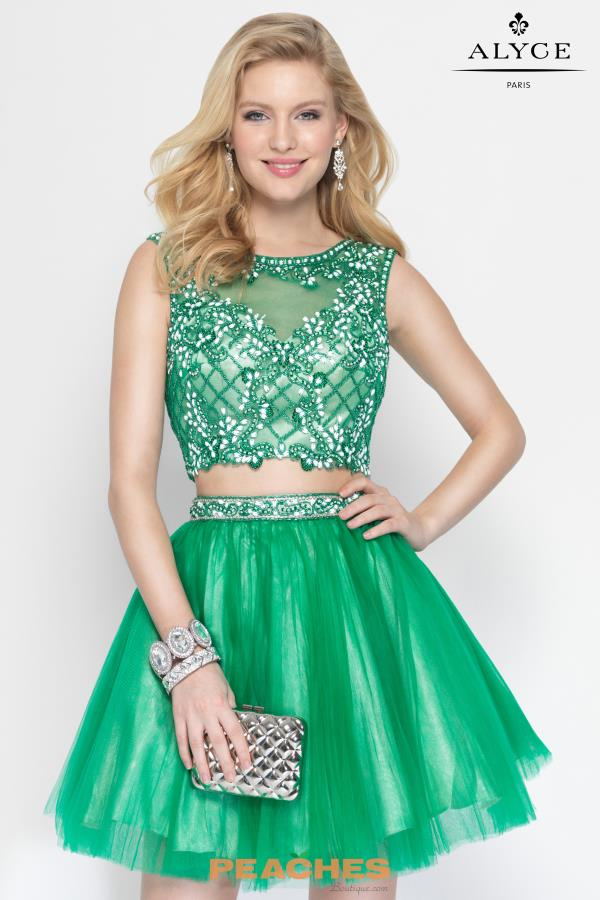 Beaded Crop Top Alyce Short Dress 4437