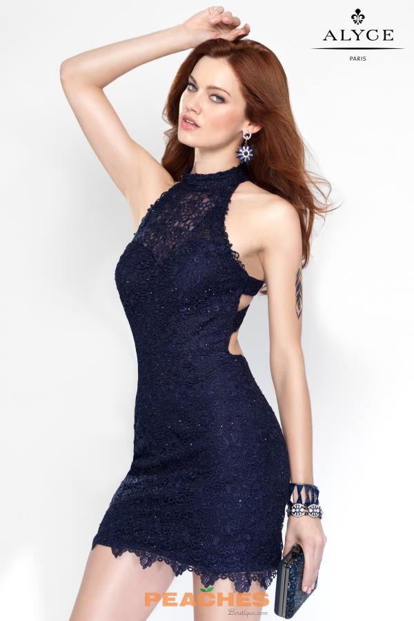 Alyce Short Lace Fitted Dress 4440