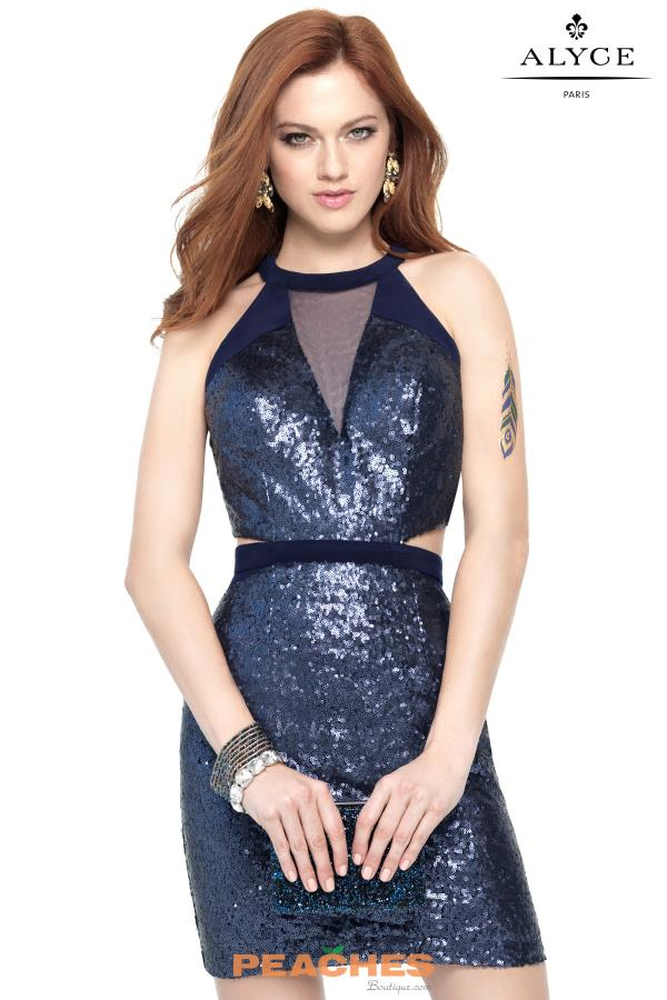 Alyce Short High Neckline Sequins Dress 4459