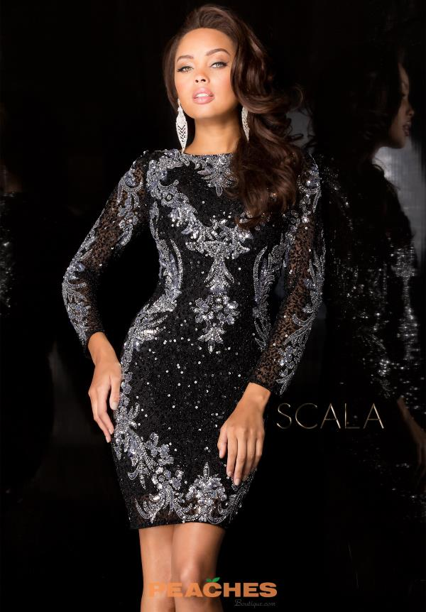 Long Sleeved Beaded Scala Dress 48645