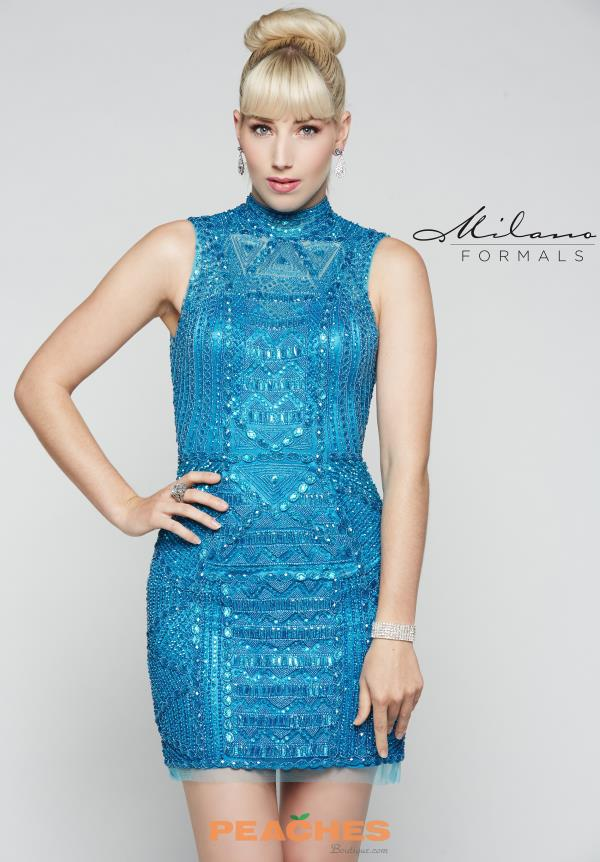 Milano Formals Blue Fitted Dress E2019