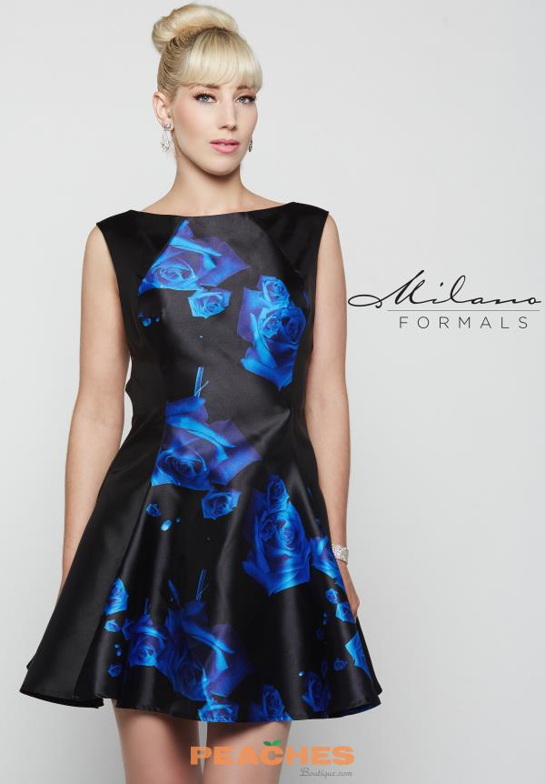 Milano Formals Print A Line Dress E2028