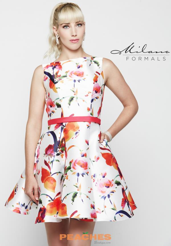 Milano Formals Print A Line Dress E2029