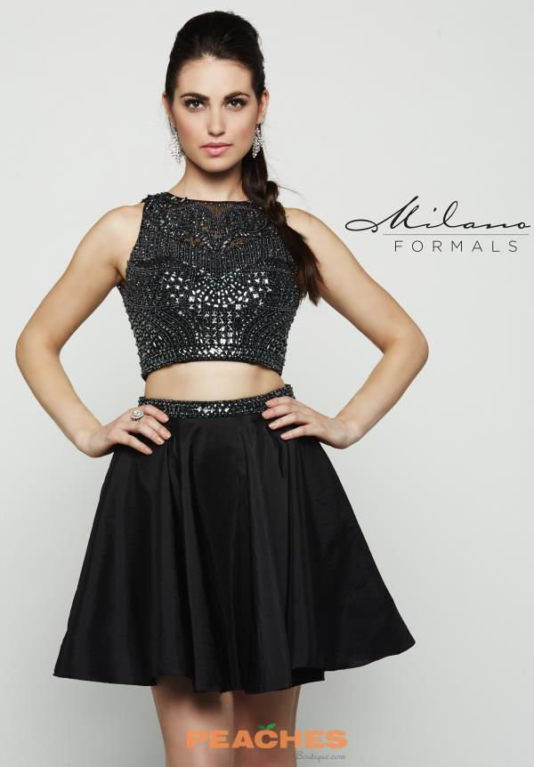 Milano Formals Two Piece Black Dress E2035