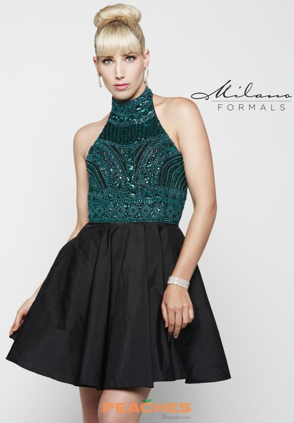 Milano Formals Beaded Black Dress E2037
