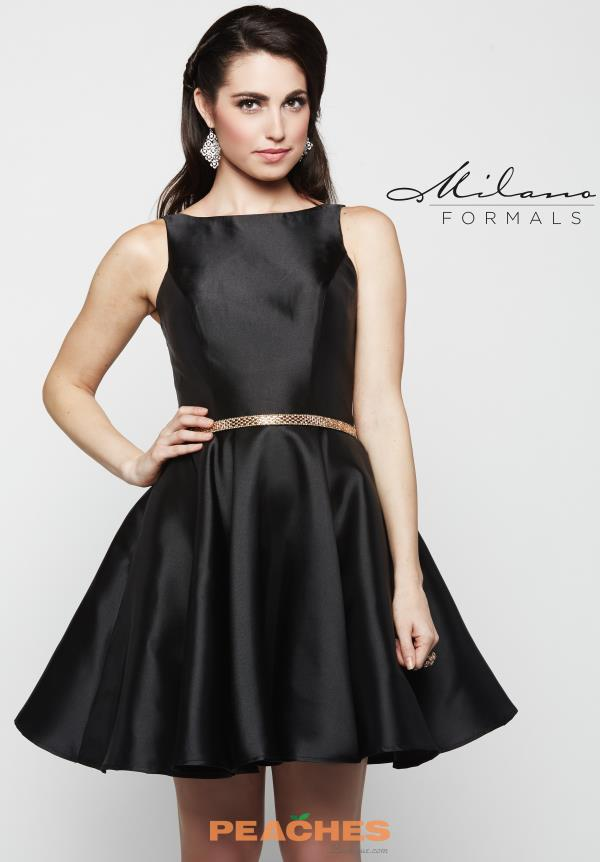 Milano Formals Black A Line Dress E2063