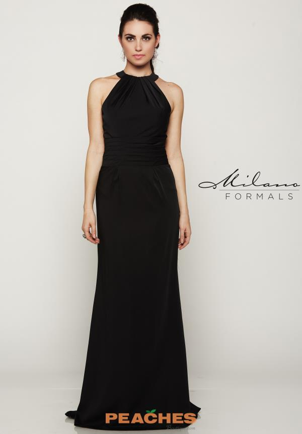 Milano Formals High Neckline Black Dress E2082