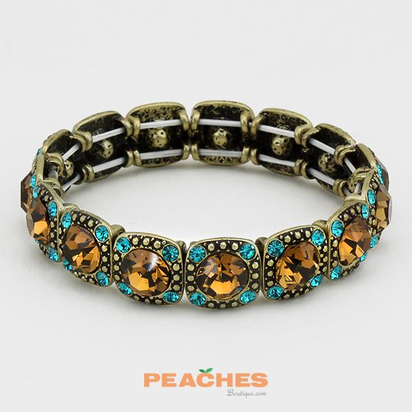 Turquoise and Brown Stretchable Rhinestone Bracelet