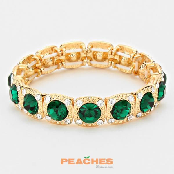 Emerald and Gold Stretchable Bracelet