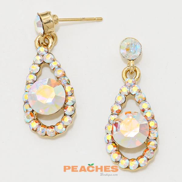 E151 Gold and Iridescent Earrings