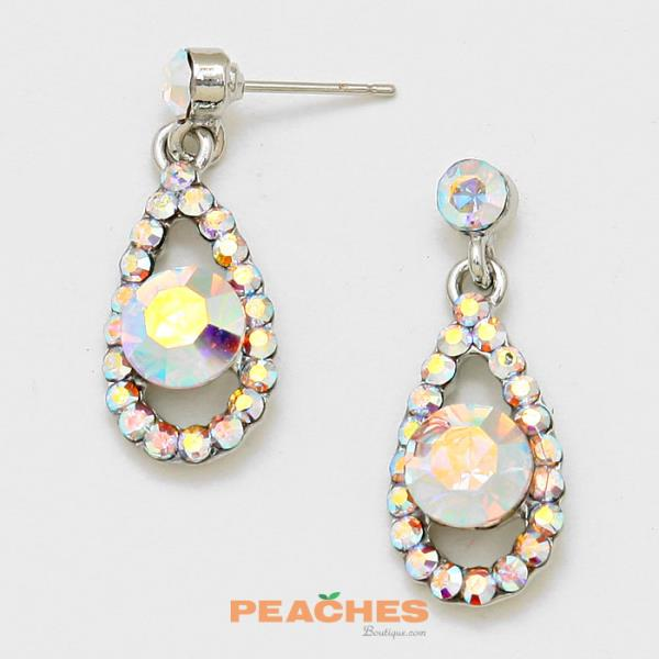 E151 Silver and Iridescent Earrings