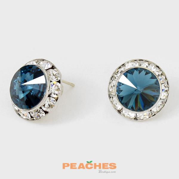 CRE1147 Sparkling Navy Stud Earrings