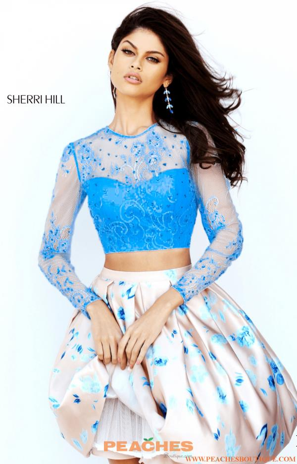 Sherri Hill Short Two Piece Sleeved Dress 50764