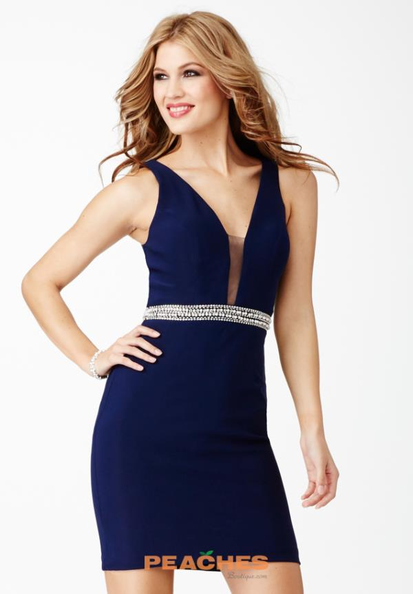 JVN by Jovani V- Neckline Short Dress JVN27604